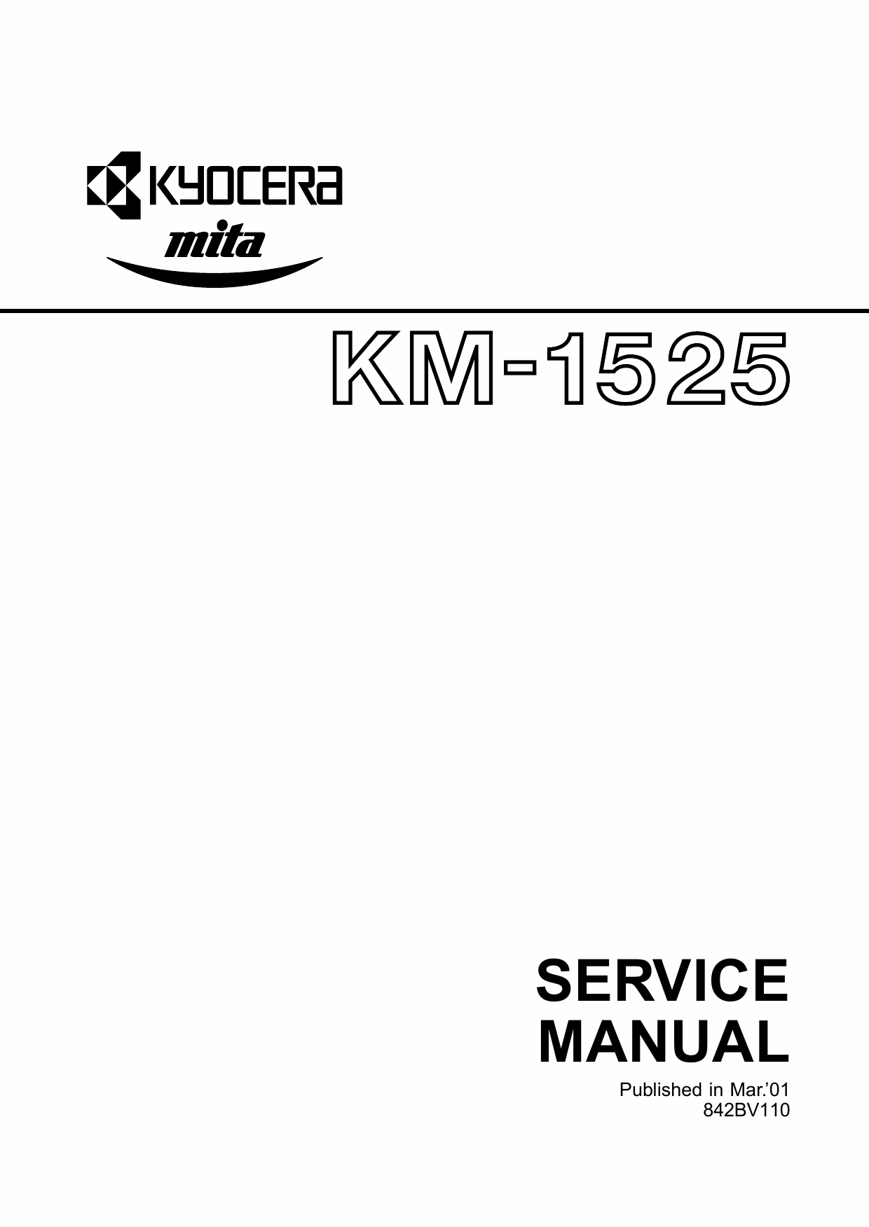 KYOCERA Copier KM-1525 Parts and Service Manual-1